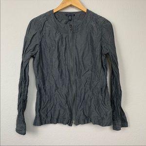 Eileen Fisher Gray Zip Up Jacket sz M